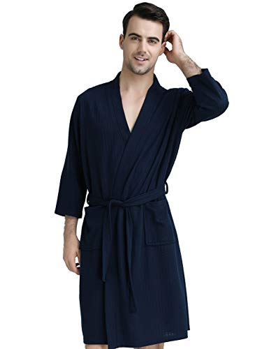 DGGLIFE Mens Robes Lightweight Bathrobes Short Kimono Waffle Weave Knee Length Spa Summer Thin Soft Nightwear