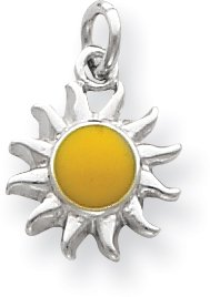 Quality Gold Enameled Sun Charm, Sterling Silver