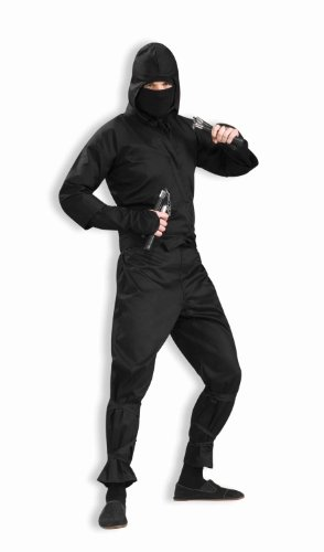 Black Ninja Costume For Men (Men's Deluxe Ninja Costume, Black, One Size)
