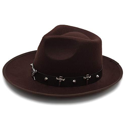 CORATO Fashion Felt Fedora Hat Winter Autumn Fascinat Jazz Hat Gentleman Sombrero Dad Hat Punk Pirate Belt Women Men Black]()