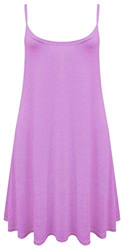 Womens Sleeveless Plain Hanky Hem Stretchy Flared Swing Long Vest Dress Top 8-22