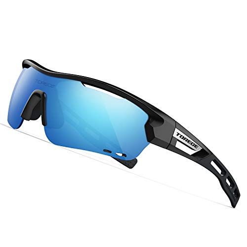 TOREGE Polarized Sports Sunglasses with 3 Interchangeable Lenes for Men Women Cycling Running Driving Fishing Golf Baseball Glasses TR33 Storm Chaser (Black&Black&Ice Blue Lens)