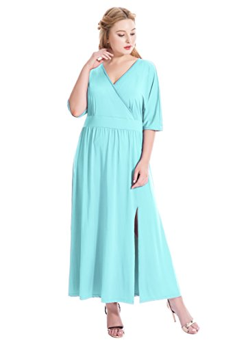 - MF Women's Plus Size Sexy Surplice V Neck Ruched Empire Waist Maxi Evening Party Dress (2X Plus, Light Blue)