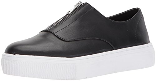 STEVEN by Steve Madden Women's Gratis Sneaker, Black Leather, 8.5 Medium US