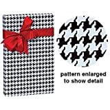 Premium All Occasion Black & White Houndstooth Gift Wrap Wrapping Paper 16 Foot Roll