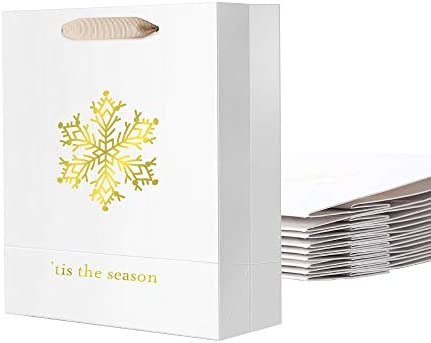 PACKHOME 10 Christmas Gift Bags with Handles, 8x4.5x11 Inches Large White Gift Bags for Presents, Premium Gift Bags for Gift Giving (Gold Snowflake)