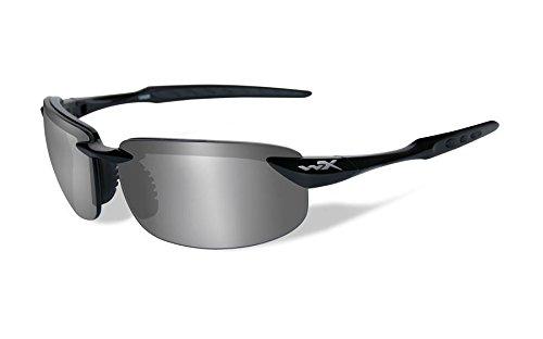 Wiley X Polarized Sunglasses WX Tobi Silver Flash Lens/Gloss Black Frame - Wiley Eyewear