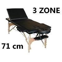 PANCA PER MASSAGGI 3 ZONE PROFESS. LETTINO ESTETISTA PORTATILE NERO LEGNO *LETTINOLEGNONER*