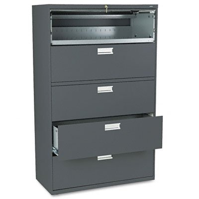 HON 695LS 600 Series 42-Inch by 19-1/4-Inch 5-Drawer Lateral File, Charcoal