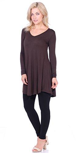 d00fd3b234c Popana Women s Tunic Tops for Leggings Long Sleeve Shirt Plus Size Made in  USA Medium Brown