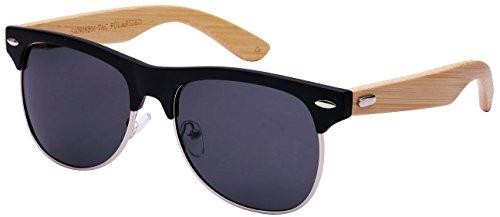 Edge I-Wear Retro Half Frame Horned Rim Bamboo Sunglasses with Polarized Lens by