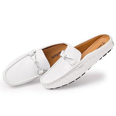 Zapatos de hombre exterior / Casual Mocasines de cuero Negro / Blanco Blanco