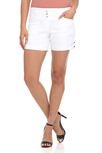 Rekucci Women's Ease Into Comfort Stretchable Pull-On 5 inch Slimming Tab Short (18,White Diamond Texture)