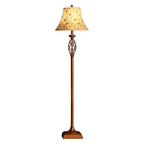 Belief Rebirth Barley Twist Traditional Floor Lamp Antique Copper Colour with Fabric Lampshade - Bedside Standing Reading Light E27 Screw Socket