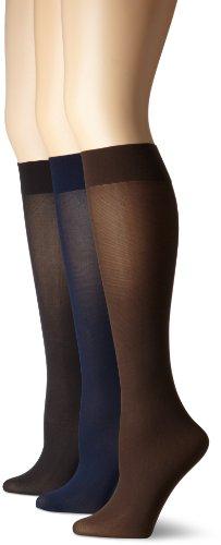 Opaque Trouser Socks - Hue Women's 3 Pair Pack Opaque Trouser Sock, Espresso/Navy/Black, One Size