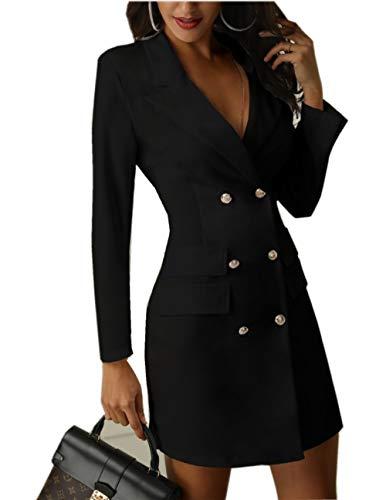 (Asskdan Women's Breasted Blazer Dress Lapel Collar Elegant Long Sleeve Office OL Blazer Dress (Black, Large))