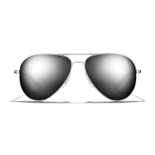 Frame Sunglasses Alloy - ROKA Phantom Alloy Sports Performance Aviator Non-Polarized Sunglasses for Men and Women - Silver Frame - Dark Arctic Mirror Lens