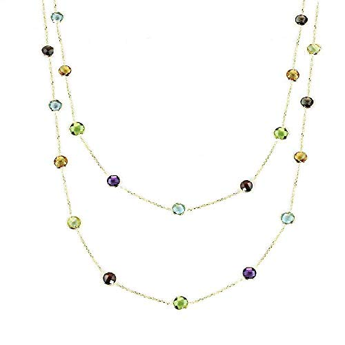 (14K Yellow Gold Handmade Necklace with 6mm Gemstones 36 or 40 Inches)
