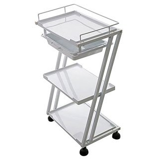 """Z"" Shape 3 Level Salon Plastic Trolley w/ Top Drawer, Wheels and Metal Frame Top Spa"