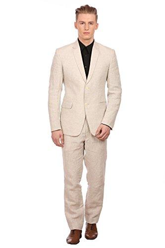 WINTAGE Men's 100% Linen Notch Lapel All Season Natural Color Suit, X-Large -