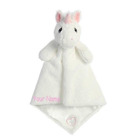 (Personalized Sparkle Unicorn Luvster Plush Stuffed Animal Snuggle Baby Blanket Gift)
