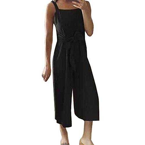 - New Womens Casual Sleeveless Off Shoulder Jumpsuit Summer Solid Strap Romper Wide Leg Pants Style High Waist Playsuit Black M