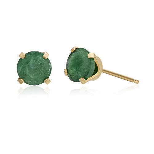 .96 CT Round 5MM Green Emerald 14K Yellow Gold Stud Birthstone Earrings ()
