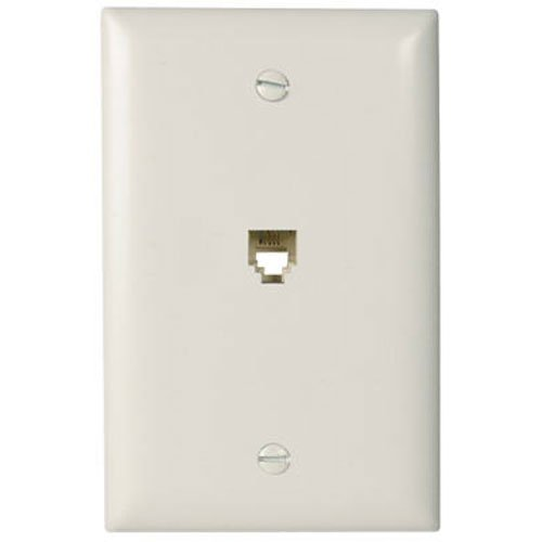 Legrand - Pass & Seymour TPTE1WCC12 Single Gang Modular Telephone Jack with Wall Plate, Four Conductor, White