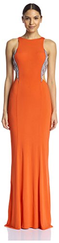 Terani Special Occasion Dress - Terani Couture Women's Cutout Gown with Embellished Sides, Orange, 14 US