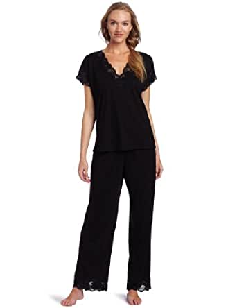 Natori Women's Plus-Size Zen Floral Pajama Set, Black, 1X