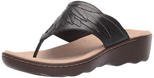 CLARKS Women's Phebe Pearl Flip-Flop Black Leather 065 M US ()
