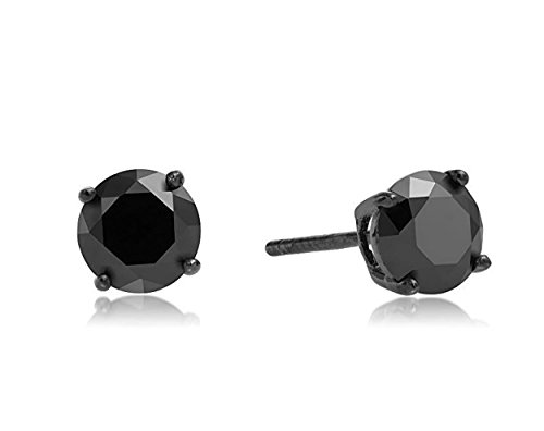 Surgical Stainless Steel Studs Earrings Men Women Round Black Basket Setting Black Cubic Zirconia Hypoallergenic - Surgical With Posts Steel Earing