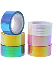Onsinic 20 stuks Scrapbooking Tape Rhythmische Gymnastiek Decoratie Holografische Prismatische Glitter Tape Hoepels Sticker