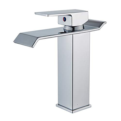 - Senlesen Deck Mount Single Handle One Hole Waterfall Spout Bathroom Sink Faucet Chrome Finish