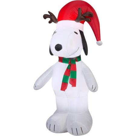 5' Airblown Inflatable Snoopy with Antlers and Santa Hat Christmas Inflatable by BLOSSOMZ