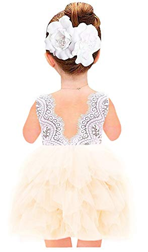 2Bunnies Girl Beaded Peony Lace Back A-Line Tiered Tutu Tulle Flower Girl Dress (Ivory Short Sleeveless, -