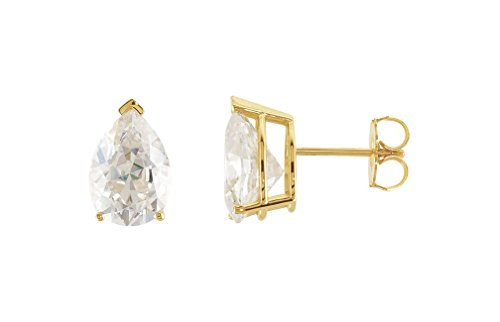 4 Cttw Charles and Clovard 14k Yellow Gold Moissanite Pear Solitaire Earrings by The Men's Jewelry Store