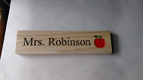(Personalized Wooden Name Plate for Teacher with Apple icon)