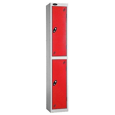 Davpack 2 Door Metal Storage Locker (White Door/Silver Body) - Choice of Size & Colour - Ref LK2S/31/WH/SV
