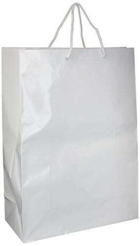 Party Friendly Extra Large Glossy Gift Bag , White, Paper , 16' x 12' x 5'