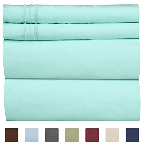 Full Size Sheet Set – 4 Piece – Hotel Luxury Bed Sheets – Extra Soft – Deep Pockets – Easy Fit – Breathable & Cooling Sheets – Wrinkle Free – Comfy – Spa Blue Bed Sheets – Fulls Sheets – 4 PC
