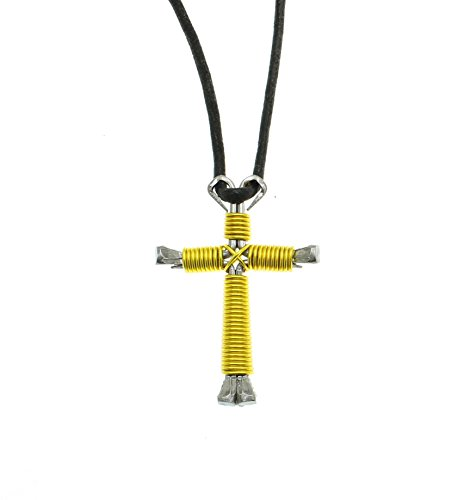Intercession™ Horseshoe Nail Cross - Made in USA (Large - Yellow) (Jewelry Large Horseshoe)