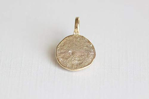 ies - Vermeil Gold Stamping Disc Tag with Attached Loop - 13mm Blank Gold Plated Over Sterling Silver Hammered Stamping Charm ()