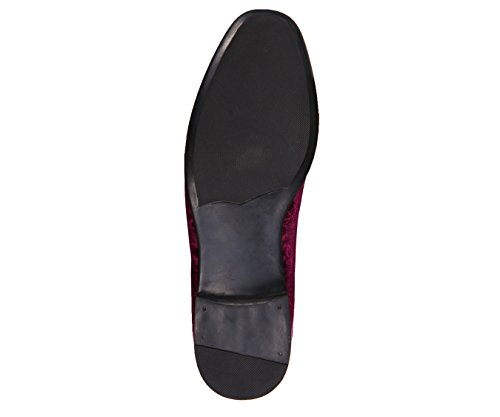 Velvet and and Bolano Slip Comfortable Design Dress Paisley Embossed Shoes Purple On Easy Mens 1S1waWBn8