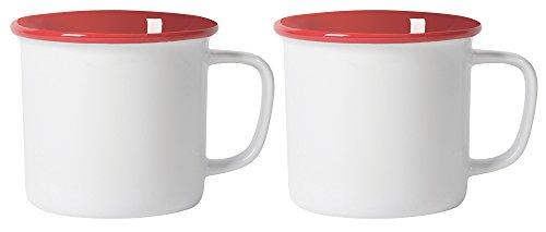 Now Designs Heritage Stoneware Mugs, Set of Two, White - Heritage White Coffee