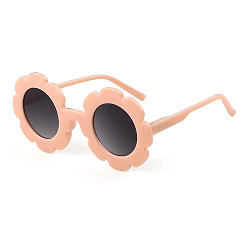 Kids Sunglasses Cute Vintage Flower Round Shaped Sunglasses for Boys Girls (Orange Frame/Grey Lens, 58) -
