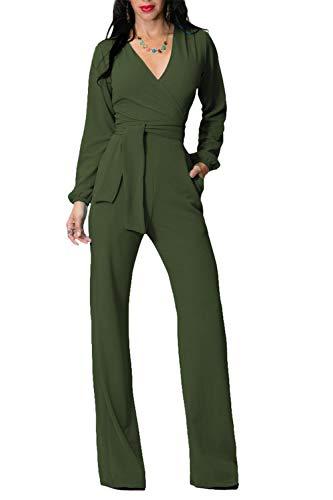 黄ばむ神経障害ひばり女性ジャンプスーツソリッドディープVネック包まれた胸ベルト作業ロンパー