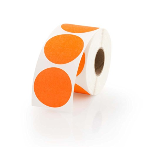 Orange Round Color Coding Inventory Labeling Dot Labels / Stickers - 1.5 Inch Round Labels 500 Stickers Per Roll