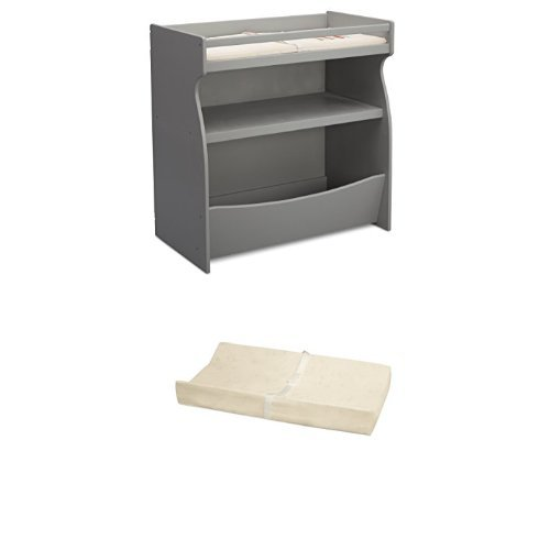 Delta Children 2-in-1 Changing Table & Storage Unit, Grey and Simmons Kids Beautysleep Naturally Contour Pad by Simmons Kids (Image #1)