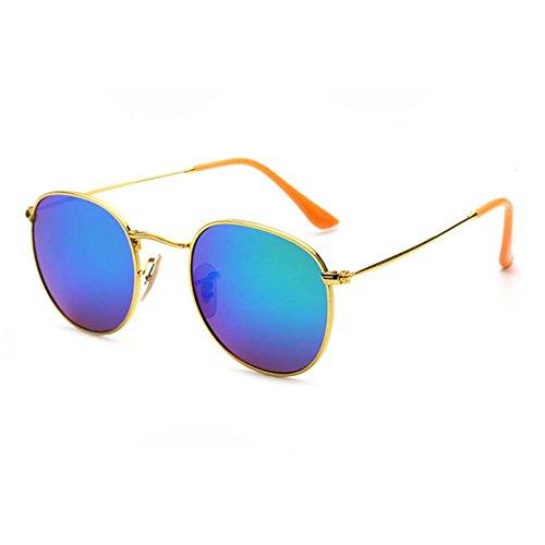 [Blue Sunshine Unisex New Retro Colorful Round Sunglasses(K7)] (Neo Costumes Sunglasses)